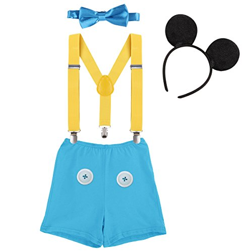 First Birthday 1st/2nd/3rd Costume Cake Smash Outfits Baby Boys Formal Suit Gentleman Bowtie Romper Suspenders Shorts Wedding Tuxedo Christening Clothes #13 Yellow+Blue Buttons Boxer Pants 2-3 Years