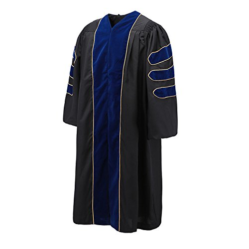 Robe Depot Unisex Deluxe Doctoral Graduation Gown With Gold Piping,Black Fabric and Royal Blue Velvet,54