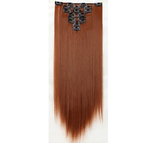Long 17-26 Inches Straight Curly 8pcs Full Head 18clips Hairpiece Clip in Hair Extensions Cosplay Party Women Hair (Straight - 23(58cm), Light Auburn) by US Fashion Lady - Auburn Mall In Stores