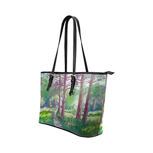 Handväskor resa konst skog höst oljemålning löv läder handväskor väska orsaksala handväskor dragkedja axel organiserare för dam flickor kvinnor handväska för damer