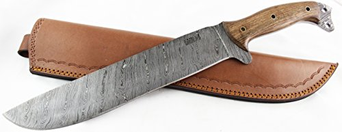 Moorhaus Damascus Machete Knife - Handmade 17.5'' Total Length - Includes Leather Sheath (Walnut Wood) by Moorhaus