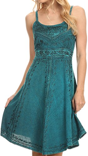 Batik Summer Dress (Sakkas 161117 - Markay Short Mid Length Spaghetti Strap Sleeveless Embroidered Batik Dress - Turquoise - S/M)