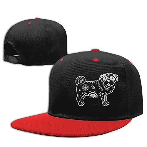Boys Girls Adjustable Classic Dad Baseball Cap Sugar Skull Pug Fitted Hats for Under 13 Red -