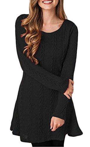 Womens Dress Knit Sweater 7 Long Neck Sleeve Jaycargogo A Sweater Tunic Round Line Ocwq4