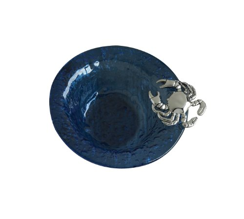 Coastal Christmas Tablescape Décor - Textured blue glass serving condiment bowl with metal crab accents by Mud Pie