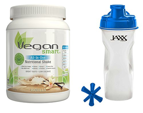 Naturade VeganSmart All-In-One Shake Vanilla 22.8 oz in Bundle with Jaxx Blue Shaker 28 oz by Naturade and Jaxx
