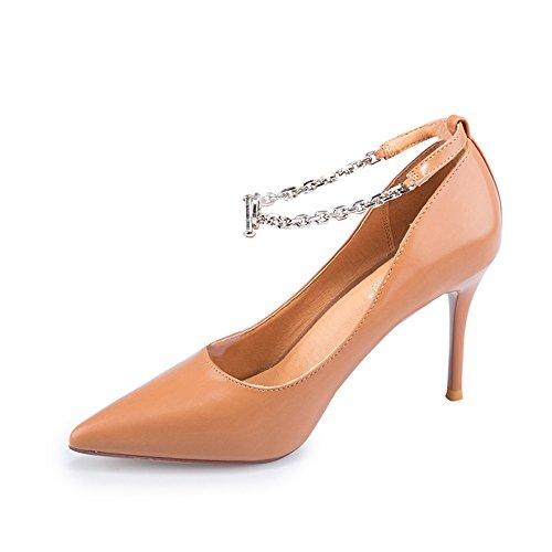 tacco Materiale FEIFEI alto confortevole PU Scarpe scarpe scarpe Strass superficiale da 5 singole UK3 EU36 tacco fibbia dimensioni 9CM alto CN35 Colore donna catena Marrone col bocca Design moda Beige x7HtwUq7