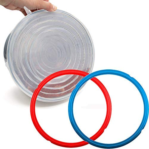 Nice-Components 9inch Tempered Glass Lid, Silicone Lid Cover 6 Quart, 4 pcs Silicone Sealing Rings for 6qt Pressure Cooker Accessories, Sweet and Savoury (Red / Blue) Edition Rings ()