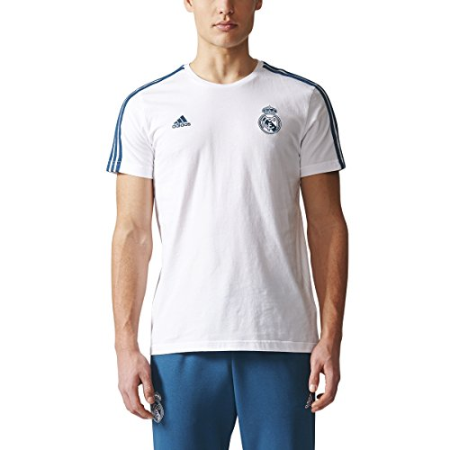 adidas Men's Real Madrid Three-Stripe Tee Soccer T-Shirt (Medium) White Petnit Blue