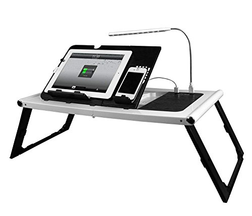 Smart Charging Table Portable Adjustable Bed Tray Table - Lap Desk - Stand - Desk for Laptops, MacBook, Notebook & Tablets with 10000mAh Power Bank (NO OUTLET NEEDED) - BONUS LED light (white) by Smart Charge Table