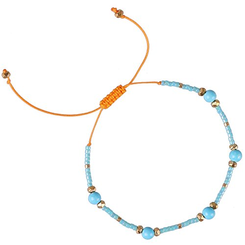 (KELITCH Multicolor Shell Pearl Beaded Friendship Bracelets Hand Woven Wrap Charm Bangle Jewelry (Blue2))