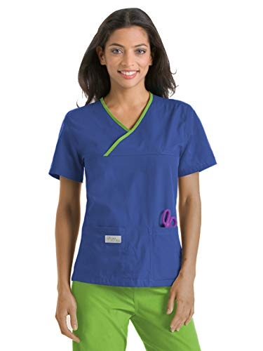 (Urbane Essentials 9534 Double Pocket Crossover Top Royal Blue/Lime L)