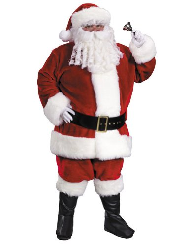 Fun World Costumes Men's Adult Regency Plush Santa Suit, Red/White, Standard 40-48 (Santa Suit Regency)