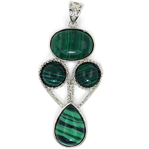 (Beautiful Green Synthetic Malachite Silver Plated Oval Coin Teardrop Pendant)