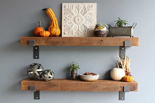 Barn Wood Shelves Chunky Rustic Industrial - Amish Handcrafted in Lancaster County, PA - Set of Two | 39.5 Inches, (Genuine Salvaged/Reclaimed Barnwood with Raw Metal Brackets) | by Urban Legacy by Urban Legacy