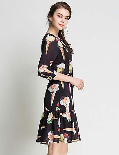 encaje Vestido Tartán De borla Yfltz geométrico malla boho Para Mujer Black Vintage Floral Gasa z6gdq5gw