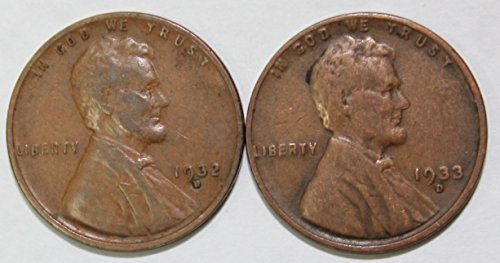 1932 & 1933 D Lincoln Wheat Cent Two Coin Set Good or Better Quality