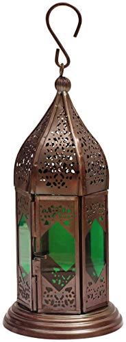 Etroves Moroccan Lantern 9.1 Inch - Handmade Hanging Tea Light Holder in Metal & Green Glass Gift & Decor Items