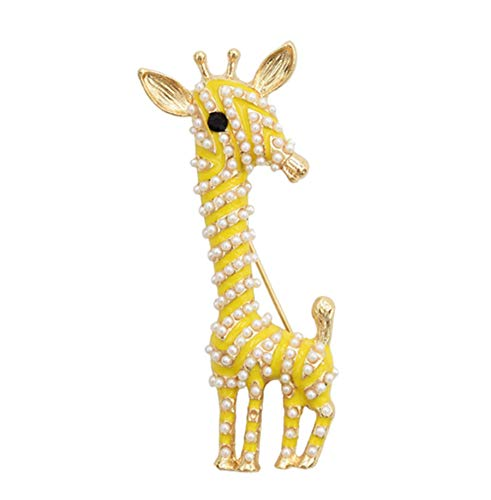 primerry Cute Giraffe Brooch Enamel Artificial Pearl Animal Pin for Women (Yellow)