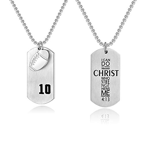 Custom Number Necklace Football Pendant Stainless Steel Dog Tags,I Can Do All Things Inspirational Jewelry ()