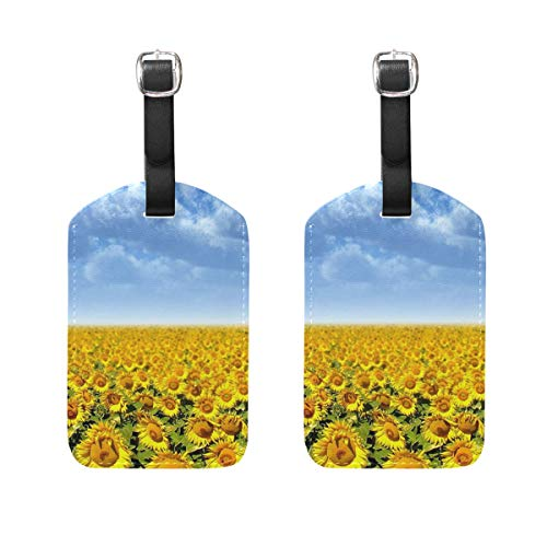 (HangWang Luggage Tags Sunflowers Great Mens Tag Holder Kids Bag Labels Traveling Accessories 2 Piece)