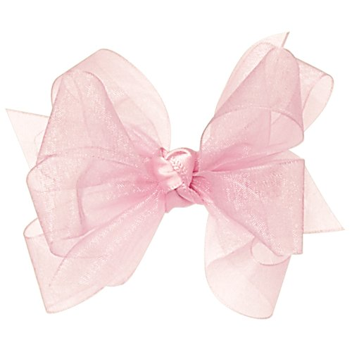 Wee Ones Baby Girls' Mini Classic Organza Double Hair Bow - Light ()