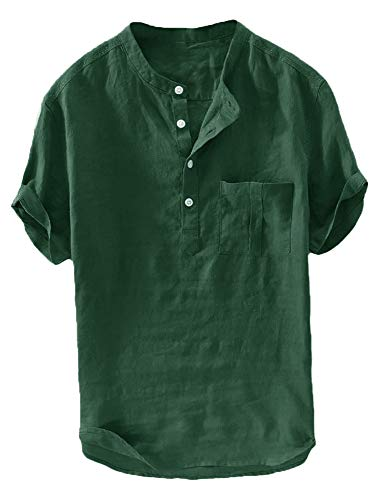 Mens Casual Henley Linen Shirt Short Sleeve T Shirt Pullovers Tees Retro Frog Button Cotton Shirts Beach Tops (X-Large, D-Dark Green)