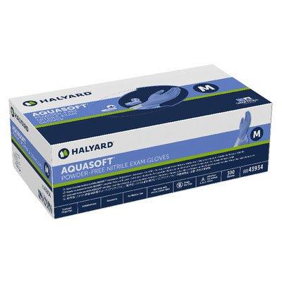 Halyard Health 43934 Aquasoft Blue Nitrile Exam Gloves, Medium (Pack of 300)