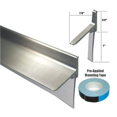 "Chrome Framed Shower Door Replacement Bottom Deflector with Vinyl Sweep - 35"" Long"