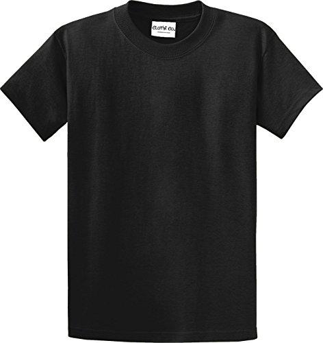 100% Heavyweight Tee Cotton (Clothe Co. Mens Big & Tall Heavyweight 100% Cotton Short Sleeve T-Shirt, Jet Black, 2XLT)
