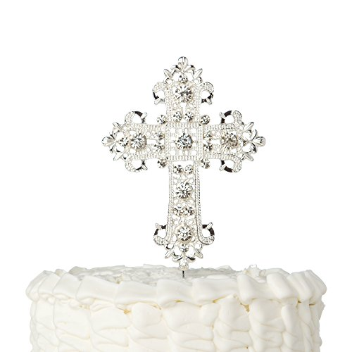 Ella Celebration Cross Cake Topper, First Communion, Religious Baptism, Christening, Child Dedication Keepsake Decoration (Silver)