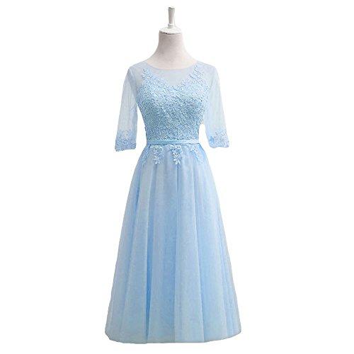 Dresses Women Dreagel Bridesmaid Prom Half Length Blue Vintage Gowns Tea Sleeves Party qIwvZAI
