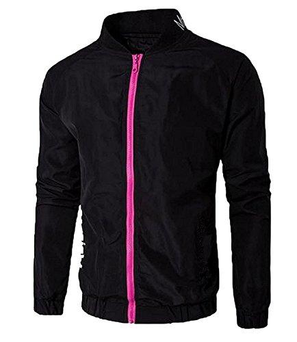 (KDHJJOLY New Men's Long Sleeve New Style Letter Full-Zip Resolve Jacket Black S)