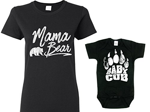 Texas Tees Mother Daughter Clothes, Mama Bear Baby Cub, Black Womans Med Shirt & Black 0-3m Matching Mother Baby Clothes