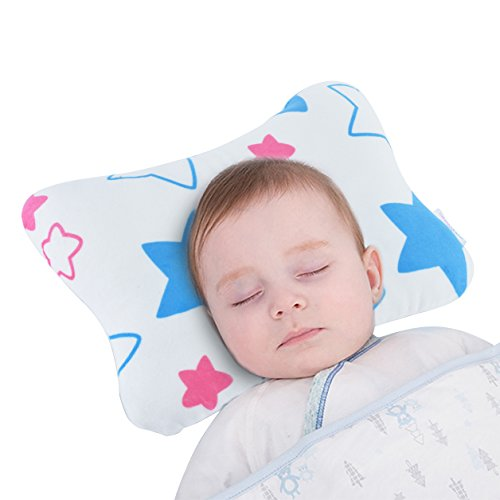 Baby Pillow Prevents Flat Head for Newborns by Baby Wishes | Age 0-3, Ultra-Soft, Breathable, 3D Air Mesh Cotton, Velvety Cover | Comes with Baby Face Towel & Ebook by Baby Wishes