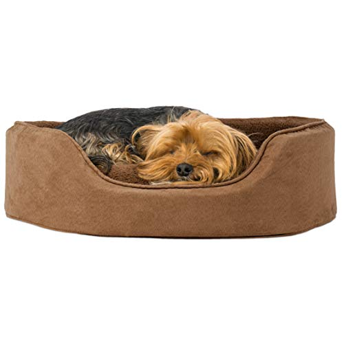 Furhaven Pet Dog Bed | Round Oval Cuddler Terry Fleece & Suede Nest Lounger Pet Bed for Dogs & Cats,...