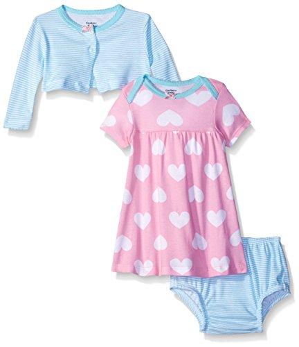 Gerber Baby Three-Piece Cardigan, Dress and Diaper Cover Set, Big Hearts, 12 Months