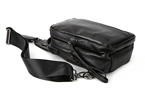 Hiking Black Bag Leather Chest For Sling Backpack Camping Crossbody Bags Men Everdoss qFRaPR