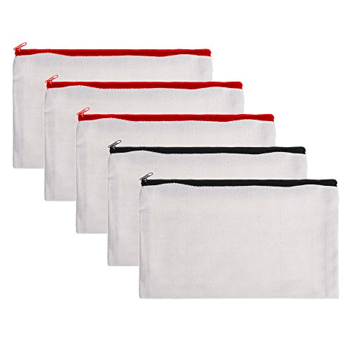 BCP 5-Pieces Multi-purpose Cotton Canvas Zipper Invoice Bill Bag Pen Pencil Cosmetic Makeup Bag Pouch Blank DIY Craft Bag 9 x 5 Inches Random color Zipper