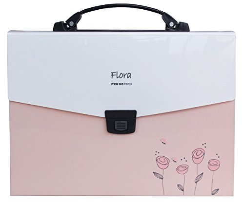 Snail&Hawk Poly Accordion Expanding-File-Folder with Handle and Tabs,A4 Size,13-Pockets,Pink