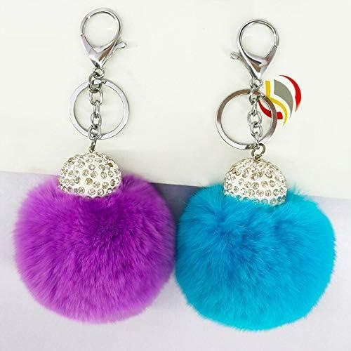 KKCVウサギの毛皮ボールキーホルダー手作りラインストーンキーリングジュエリーチャームハンドバッグペンダント装飾ふわふわボールキー飾りキーホルダー