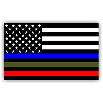 Police military and fire thin line usa flag decal american flag sticker blue green and red stripe for cars trucks for honor and support of our officers and
