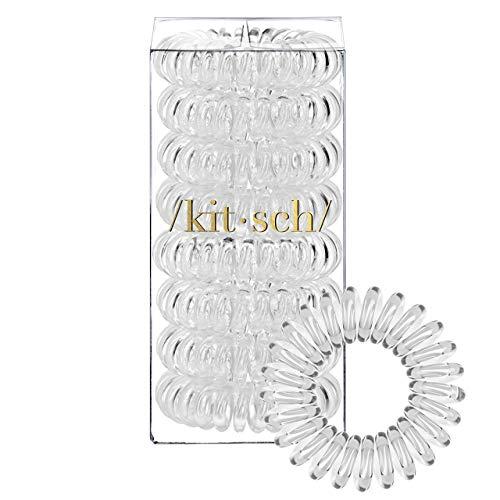 Kitsch Spiral Hair Ties, Coil Hair Ties, Phone Cord Hair Ties, Hair Coils - 8 Pack, Transparent (Best Hair Ties For Thin Hair)