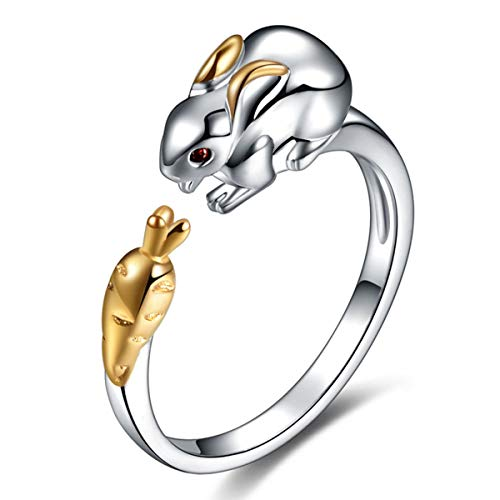 CNZONE Rabbit Ring Sterling Silver Gifts for Women Gold Crystal Cuff Adjustable Chinese Zodiac Jewelry
