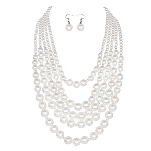 Youfir Simulated Pearl Five Multi-Strand Necklace Set for Women Party Dress(White) ()