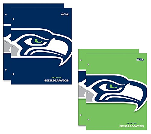 Seattle Seahawks NFL Carpetas escolares de 2 bolsillos, 4 unidades, 24 x 30 cm