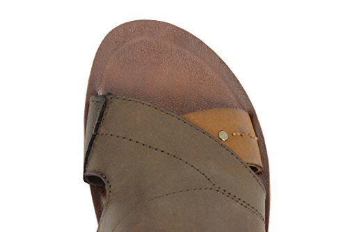Mens Brown Real Genuine Leather Sandals Walking Mules Slip on Shoes Size 6 7 8 10 11 Coffee-brown v0Vugipv