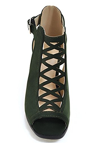 Green Sandals IDIFU Shoes Gladiator Women Heels Block w44xqzYR