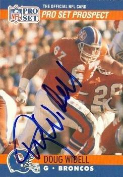 Denver Football Broncos Pro Autographed (Doug Widell autographed Football Card (Denver Broncos) 1990 Pro Set #730 - NFL Autographed Football Cards)