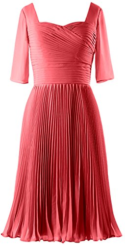 MACloth Women Half Sleeves Mother of Bride Dress Chiffon Cocktail Formal Gown Wassermelone sMaf5Np